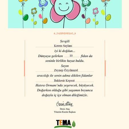 Tema Vakfı Bebek Doğumu Fidan Bağışı Sertifikası